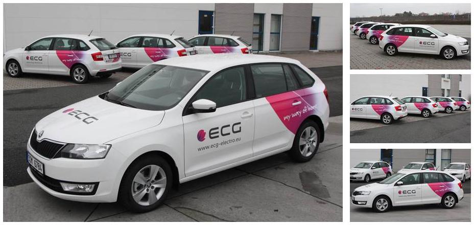 Novi automobili tvrtke obojeni ECG-ovim  korporativnim bojama
